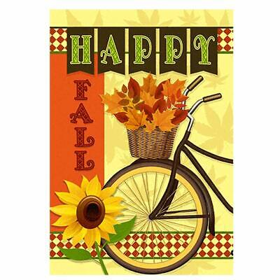 Morigins Happy Fall Bicycle Decor Autumn Sunflower Maple Leaves Garden Flag