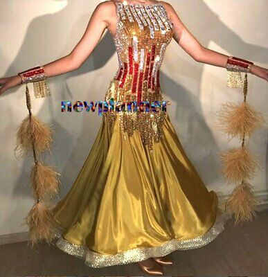 Feather Ballroom Waltz Tango Standard Dance Dress US 4 UK 6 Gold Red Sliver