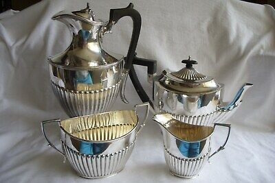 Vintage / Antique Silver Plated Fluted Tea / Coffee Set.