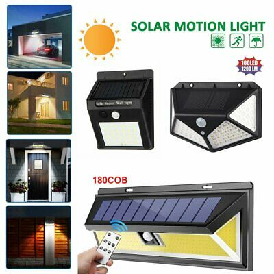 30/100/180 LED Solar Power Light PIR Motion Sensor Security Lamp Garden Wall