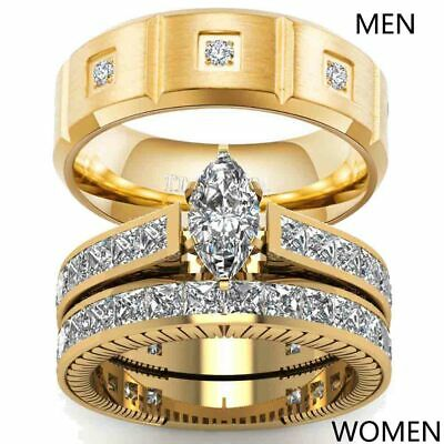 Yellow Gold Filled Couple Rings Titanium Mens Ring Band Womens Wedding Ring Sets