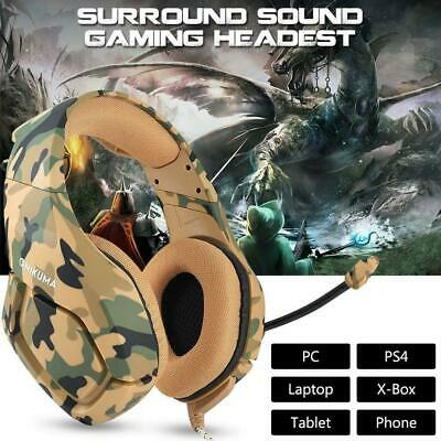 UK ONIKUMA K1 Gaming Headset for PS4 Xbox Switch 3.5MM MIC Headphone Camouflage