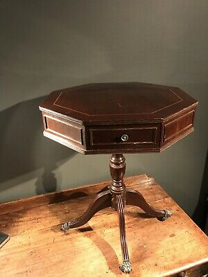 Antique Octagon Occasional Side Table-twin Draw-Brad's Castors-Vintage-storage