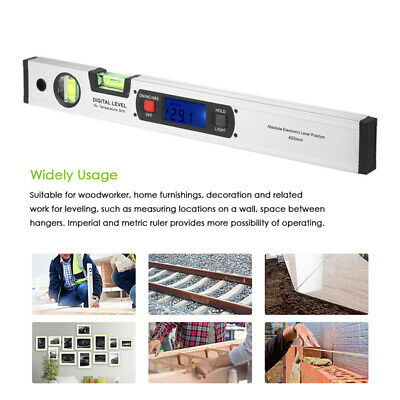 400mm LCD Digital Electronic Angle Finder Meter Protractor Dual Spirit Level