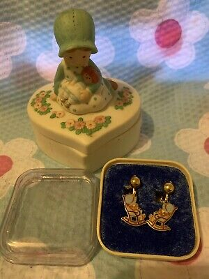 Vintage Holly Hobbie Earring And A Trinket Box