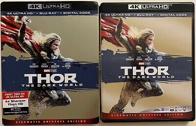 Disney Marvel Thor The Dark World 4K Ultra Hd Blu Ray 2 Disc + Slipcover Sleeve