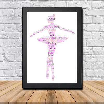 Ballet 1B Personalised Childrens Christening Word Art Gift Present Print Poster