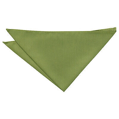 Olive Green Handkerchief Hanky Pocket Square Solid Plain Shantung Formal by DQT