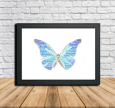 Butterfly Personalised Childrens Christening Word Art Gift Present Print Poster
