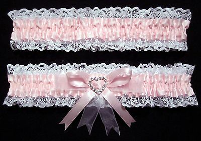 Wedding Garter Set Pink & White With Large Heart Diamante Centre