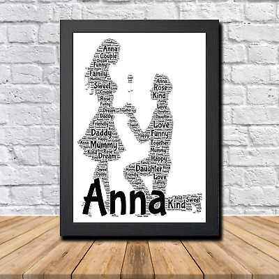 Couple 1B Personalised Childrens Christening Word Art Gift Present Print Poster