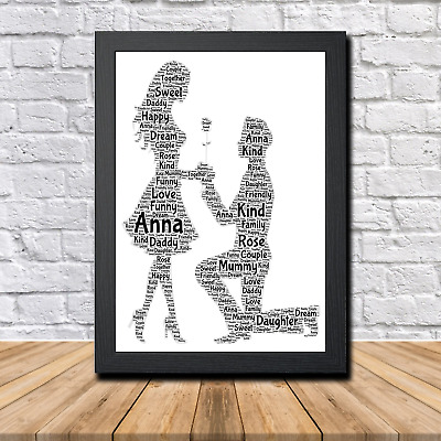 Couple 1A Personalised Childrens Christening Word Art Gift Present Print Poster