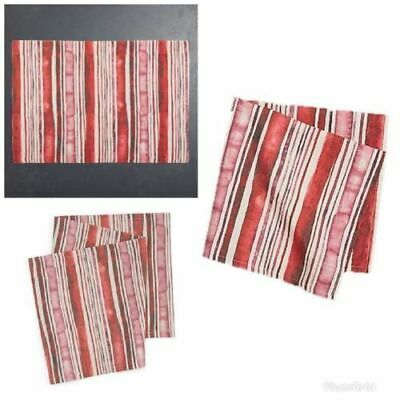 Homewear Brissac Set of 3 Table Runner Placemat Cloth Napkin Red Stripe NWT T6