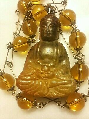 Old Chinese Carved Jade Buddha Pendant Vtg. Olive Green Glass Bead Necklace Set.