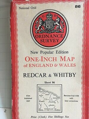 vintage cloth ordnance survey map of Redcar Whitby . 1947