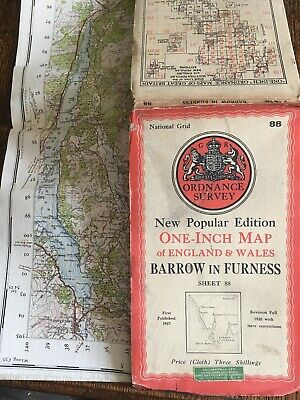 vintage cloth ordnance survey map of Barrow In Furness Lake District . 1947