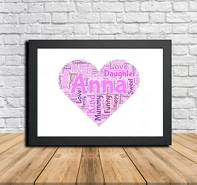 Arella Bamb Leroy Merlin.Heart 1b Personalised Childrens Christening Word Art Gift