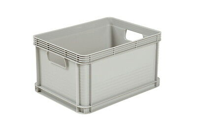 6 x 20 Ltr Heavy Duty Plastic Stacking Euro Storage Containers Boxes Crates GREY