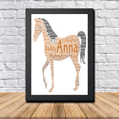 Horse 1 Personalised Childrens Christening Word Art Gift Present Print Poster