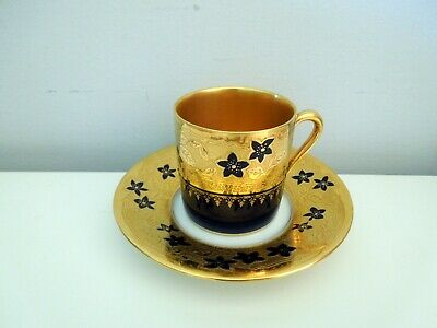 Antique Limoges France Demitasse Cup Saucer Raised Gilded Flowers Can Shape HP