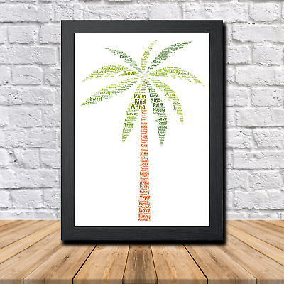 Palm 1A Personalised Childrens Christening Word Art Gift Present Print Poster