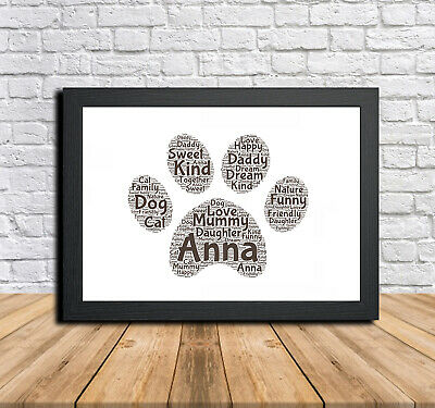 Paw 1 Personalised Childrens Christening Word Art Gift Present Print Poster