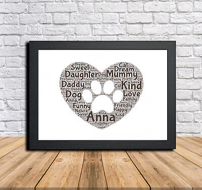 Paw 2 Personalised Childrens Christening Word Art Gift Present Print Poster