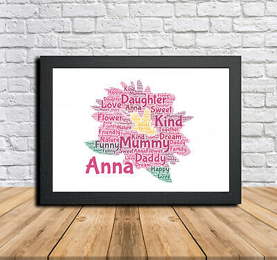 P Flower 2 Personalised Childrens Christening Word Art Gift Present Print Poster