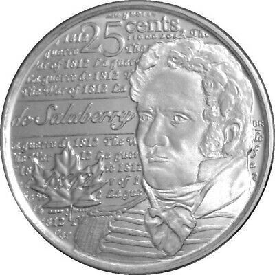 Canada quarter 25 cents coin, The War of 1812, Col Charles de Salaberry, 2013