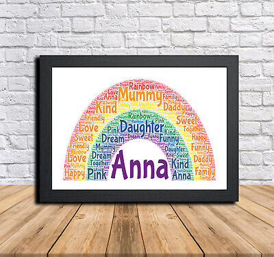 Rainbow 1A Personalised Childrens Christening Word Art Gift Present Print Poster