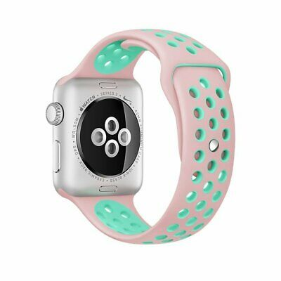 Silicone Sport iWatch Band Strap for Apple Watch Series 4/3/2 Pink/Mint 38mm