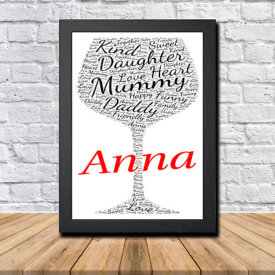 Wine 1C Personalised Childrens Christening Word Art Gift Present Print Poster