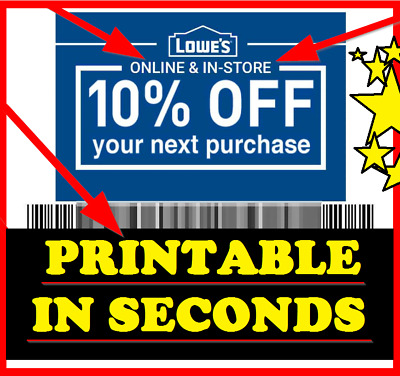 Five 5x Lowes 10% Off-Coupons -FASTEST Delivery - Best Expiration - Best Service
