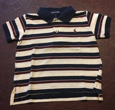 Ralph Lauren Polo Shirt Red White Blue July 4th Independence Day 6 12 Months EUC