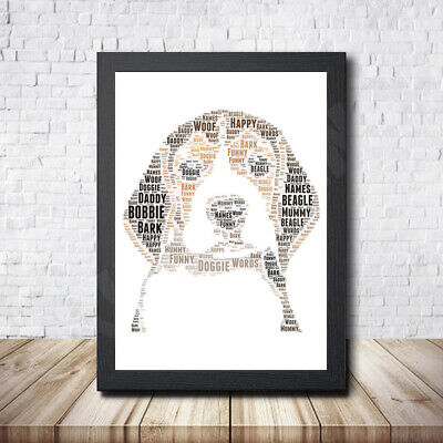 Beagle Personalised Childrens Christening Word Art Gift Present Print Poster
