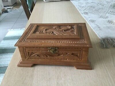 Fine Old Sweden Or Norwegian  Antique Carved Acanthus Box