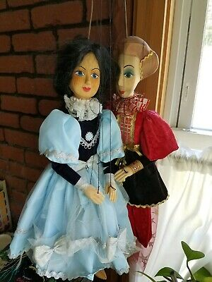 Vintage Wooden Marionettes, (Pair) -Rod w/ Wood control.