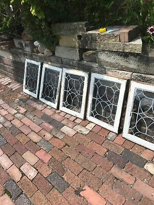 SG2998 5 Av Price each antique leaded glass window 18.5 x 24