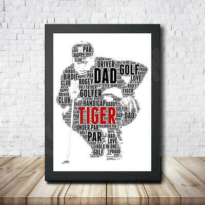 Golf Tiger Personalised Childrens Christening Word Art Gift Present Print Poster