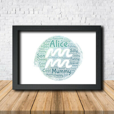 Aquarius 1 Personalised Childrens Christening Word Art Gift Present Print Poster