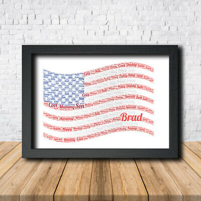USA FLAG DESIGN 1 Personalised Childrens Poster Word Art Gift Present Print