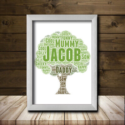 TREE DESIGN 1 Personalised Custom Childrens Poster Word Art Gift Present Print