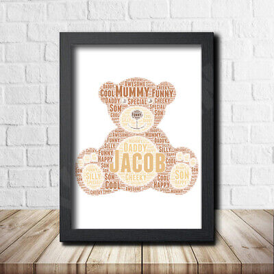 TEDDY DESIGN 1 Personalised Custom Childrens Poster Word Art Gift Present Print