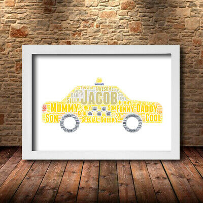 DADS TAXI DESIGN 1 Personalised  Childrens Poster Word Art Gift Present Print