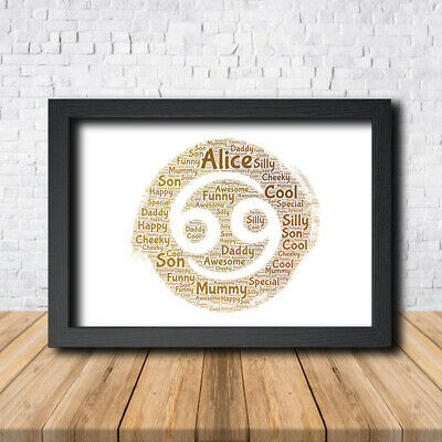 Cancer Zodiac 1 Personalised Childrens Christening Word Art Gift Present Poster