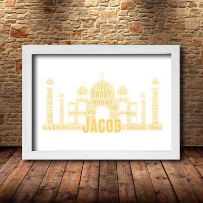 TAJ MAHAL CUSTOM 1 Personalised  Childrens Poster Word Art Gift Present Print