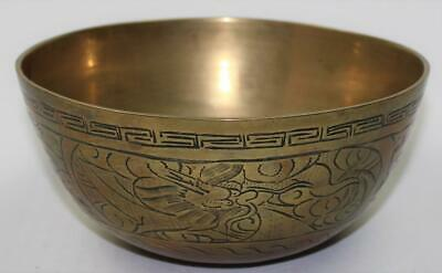 Vintage 20thC Chinese PRC Large Brass Dragon Chasing Flaming Pearl Bowl Marked
