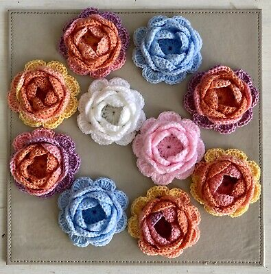 10 New Handmade Crochet Flowers Size 3 Inches Multicoloured