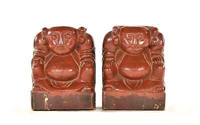 Pair of Antique Chinese Red Wooden Carved Statue / Figurine