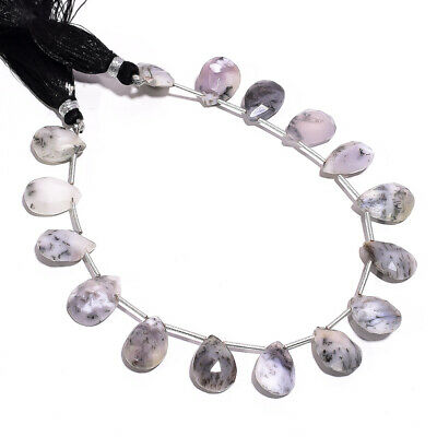 """78.3 Ct. Natural Dendrite Opal Gemstone Pear Faceted Beads String 8"""""""